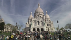 Basilica of the Sacre Coeur on Montmartre, Paris Stock Footage