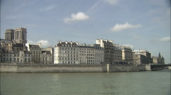 Left Bank landmarks from the Seine, Paris Stock Footage