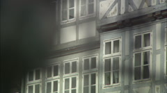 Rack-focus on a building behind a fountain in Hannover, Germany Stock Footage