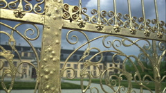 Gilded gates in front of Herrenhausen Castle in Hannover, Germany Stock Footage