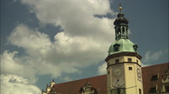 Clock tower at Old Town Hall in Leipzig, Germany Stock Footage