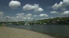 Bridge on the Elbe River at Loschwitz, Germany - stock footage