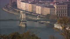 Chain Bridge over the Danube in Budapest Stock Footage