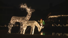 Close-up animated and illuminated reindeer lawn ornaments Stock Footage