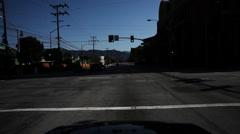 Driving northeast on West Alameda Avenue in Burbank, California; Disney Studios Stock Footage