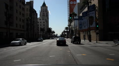 Driving on Highland Boulevard toward intersection with Hollywood Boulevard, Stock Footage