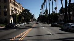 Driving south on Franklin Avenue, Hollywood - stock footage