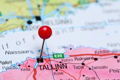 Tallin pinned on a map of Estonia - stock photo