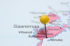 Kuressaare pinned on a map of Estonia - stock photo