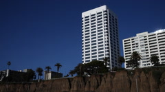 Hotels above the beach in Santa Monica, California - stock footage