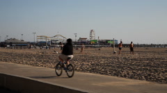 People enjoying Santa Monica Beach - stock footage