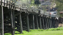 Long lens shot of Prince Alfred Bridge, Gundagai Stock Footage