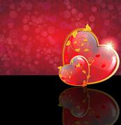 Valentine's Day hearts with floral pattern Stock Illustration