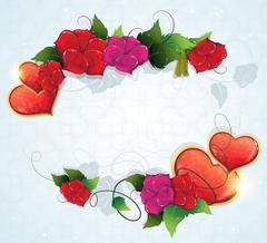 Floral frame with Valentine hearts - stock illustration
