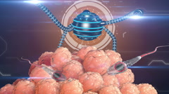 Nano robot fertilizes the cell egg. Artificial insemination. Medical future Stock Footage
