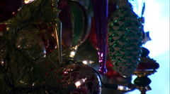 Close-up ornaments on a Christmas tree Stock Footage