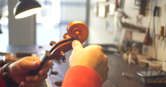 Violin maker Cine 4k - head Stock Footage