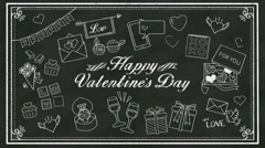 Handwriting concept of 'HAPPY VALENTINE'S DAY' at chalkboard.blackboard.2 Stock Footage
