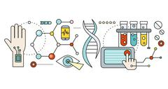 Laboratory with Human DNA. Concept Scientific Stock Illustration