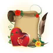 Old parchment and Valentines hearts - stock illustration