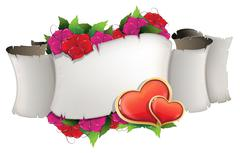 Paper scroll with hearts and flowers - stock illustration
