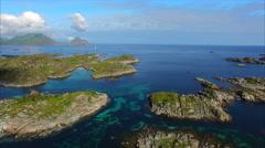 Rocky islets on Lofoten islands in Norway Stock Footage