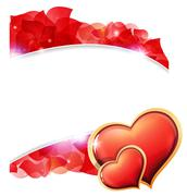 Red Valentines hearts and  petals - stock illustration
