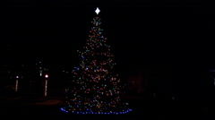 An outdoor Christmas tree at night decorated with twinkling lights and a star - stock footage