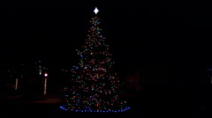 An outdoor Christmas tree at night decorated with twinkling lights and a star Stock Footage