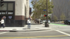 Left Side of a Driving Plate: Car turns right from West 2nd Street in Los Stock Footage