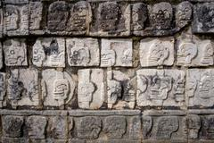 Detail of stone carvings in famous archeological site Chichen Itza - stock photo