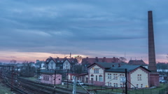 Houses Buildings at Railroad Train is Moving Hyperlapse Titelapse Industry High Stock Footage