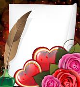 Valentine hearts, roses and  sheet of paper - stock illustration