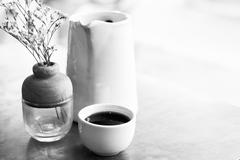 Cup of hot tea on wooden table , soft focus Stock Photos