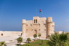Citadel of Qaitbay fortress and its main entrance yard, Alexandria, Egypt. - stock photo