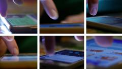 Collage of sliding typing smartphone display surfing internet Stock Footage