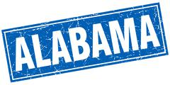 Alabama blue square grunge vintage isolated stamp Stock Illustration