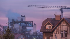 House Crane is Working Building Factory Hyperlapse Titelapse Industry Smoke is Stock Footage