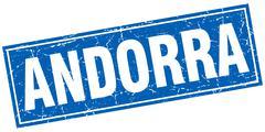 Andorra blue square grunge vintage isolated stamp - stock illustration