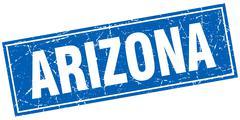 Arizona blue square grunge vintage isolated stamp - stock illustration