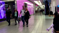 One side of people shopping xmas gift in Coquitlam shopping mall Stock Footage