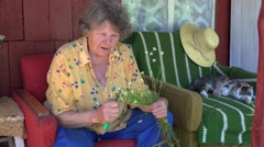 Happy senior grandma woman talk with cat and pick chamomile herb plant. 4K Stock Footage