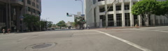 Front view of a Driving Plate: Car turns right onto Figueroa Street in Los Stock Footage