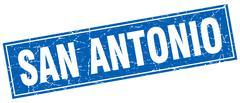 San Antonio blue square grunge vintage isolated stamp - stock illustration