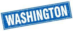 Washington blue square grunge vintage isolated stamp Stock Illustration