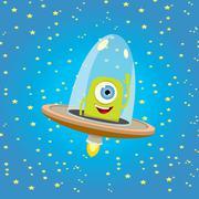 Ufo. alien vector. flying saucer Piirros