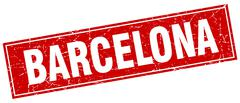 Barcelona red square grunge vintage isolated stamp - stock illustration