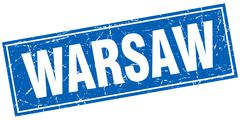 Warsaw blue square grunge vintage isolated stamp - stock illustration