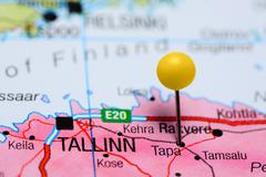 Tapa pinned on a map of Estonia Stock Photos