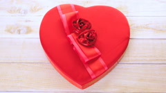 Heart shaped boxes with gourmet chocolate for Valentines Day. Stock Footage
